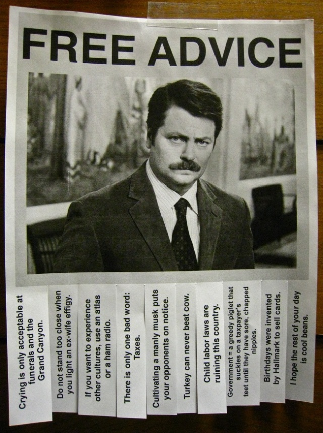 Ron Swanson advice poster